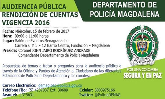 Invitaci n a la comunidad magdalenense a la audiencia for Oficina de policia
