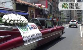 Campaña en calles de Medellín con carro fúnebre hacemos pedagogía para evitar contagio coronavirus