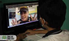 Con innovadora estrategia Policía dicta clases a través de plataformas digitales a niños niñas y adolescentes
