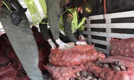 Encaletado en costales de papa fueron hallados 256 kilogramos de estupefacientes