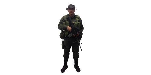 Uniforme de EMCAR con Pava y Chaleco de la Policía Nacional