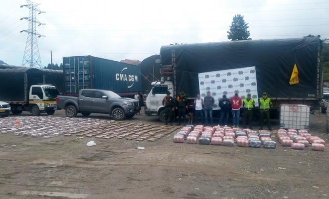 Capturados con 840 kilos de marihuana incautada en Antioquia